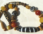 Tibetan Agate Dzi Beads, 22 k gold beads, and Jade Necklace, Beadart-Austria Design. OOAK