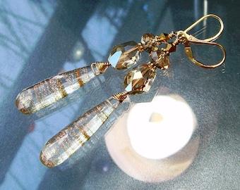 Gold Glitter Rutilated Quartz Lab Created Briolette Gemstone Earrings, Swarovski Crystal, Cocktail Earrings, Black Tie, Similar to Sunstone