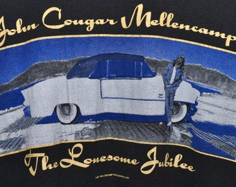 Vintage 80s 1987 JOHN COUGAR MELLENCAMP Lonesome Jubilee Concert Tour T Shirt sz M Screen Stars