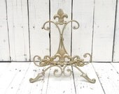 Gold Easel, Metal Easel Book Stand Prop, Shabby Cottage Chic, Fleur De Lis, Parisian Chic, Cottage Chic, French Country, Paris Apartment