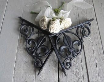 Fleur De Lis Shelf Bracket, Black Bracket, Corner Bracket, French Country, Paris Apartment, Cottage Chic, Iron, Home Decor, Architectural