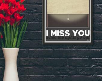 I Miss You / Adele / Lyric / DIGITAL Typography Poster