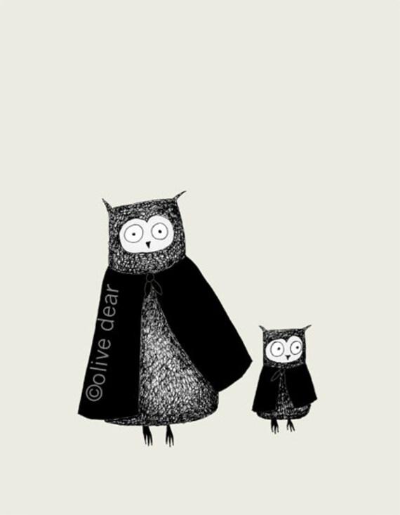 cloaked owls - fine art print