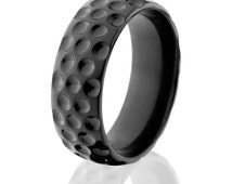 Sports Rings, Black Golfing Rings, Golf Jewelry, Golf Band: BZ-8HR-M-Golfball