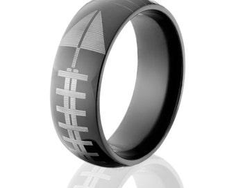 football ring black zirconium football ring wedding band unique gift sports ring free engraving bz - Sports Wedding Rings