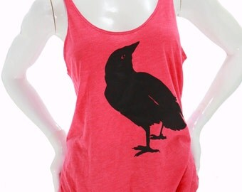 Crow| Raven| Soft lightweight tanktop| Art by MATLEY| Relax fit| Gift for her| Bird print| Yoga| Small-XXL| Nevermore| Summer top| oversize.