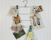 Folding Metal Skirt Hanger 4 Tier Blue Tips, Inspiration Board Display, Wall Closet Organizer, Sewing Room, Cottage Farm Home Wall Decor