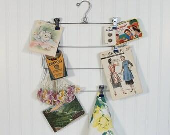 Folding Metal Skirt Hanger 4 Tier Blue Tips, Inspiration Board Display, Wall Closet Organizer, Sewing Room, Cottage Farm Home Wall Decor