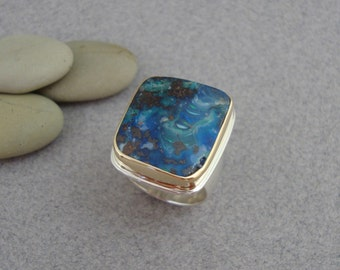 Large Boulder Opal Ring in 18k Gold and Sterling, Bright Blue Opal Ring, Australian Opal Statement Ring