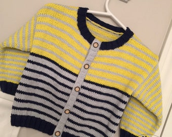 Cardigan baby striped yellow-blue-grey - 12 months