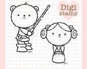 Luke and Leia Bears Digital Stamp - Star Wars Stamp - Bear Digital Stamps - Bear Art - Bear Card Supply - Luke and Leia Craft Supply