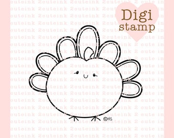 Pumpkin Turkey Digital Stamp - Fall Stamp - Digital Fall Stamp - Pumpkin Art - Turkey Card Supply - Fall Craft Supply