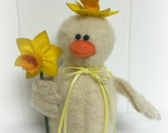 Spring Plush Easter Duck | Spring decoration | Farmhouse duck decor | Easter centerpiece | Barnyard duck
