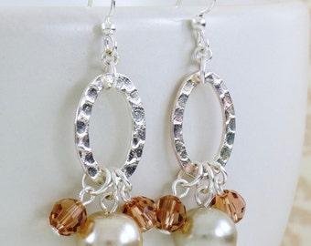 Silver Oval Hoops Dangle Earrings Beige Pearls, Beaded Handmade Jewelry, Birthday Gift for Girl, Earrings for Bridesmaids, Delicate Earrings