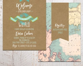 Baby Shower Invitation - Welcome to the World Baby Shower Invitation - Printable 5x7 shower invite - world baby shower (baby shower no. 03c)