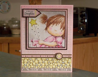"""Handmade Birthday Card for Daughter - 6.5"""" x 5"""" - Little Girl with Magic Wand - Gold Foil Accents - Polka Dots & Stars - OOAK"""