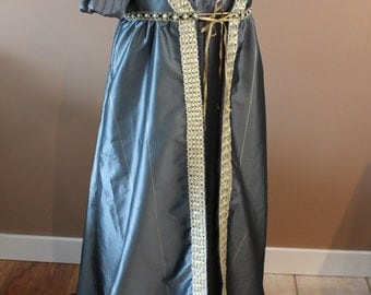 "Bust 50"" 2 PC Set Pewter Silver Regency Victorian Renaissance Gown Dress Overcoat Jacket Medieval"