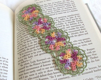Tatted Lace Bookmark - Butterfly Bookmark - Floral Tatting - Multicoloured Purple, Yellow, Peach, Green - Flowers - Janessa Version 2