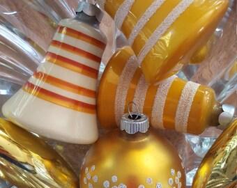 6 Mid Century Gold & White Glass Christmas Ornaments Bulbs