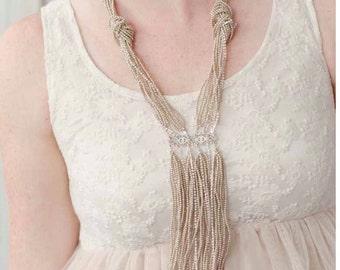 Bridal Pearl Y Necklace in Silver, Y Necklace for Bride, Champagne Pearl Lariat Necklace, Bridal Lariat Necklace