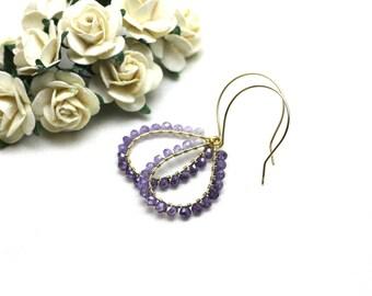 Ombre Amethyst Chandelier Earrings in Gold | Gradient of Purple Wire Wrapped Gemstones | Yasmin Earrings by Azki