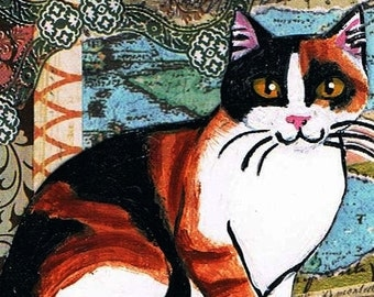 Calico Cat, Original, Mixed Media ACEO, Collage, One of a Kind, Miniature Art, Cat Art
