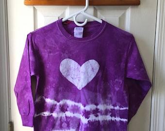 Purple Tie Dye Shirt, Kids Tie Dye Shirt, Girls Tie Dye Shirt, Purple Heart Shirt, Girls Heart Shirt, Long Sleeve Girls Shirt (Youth S)