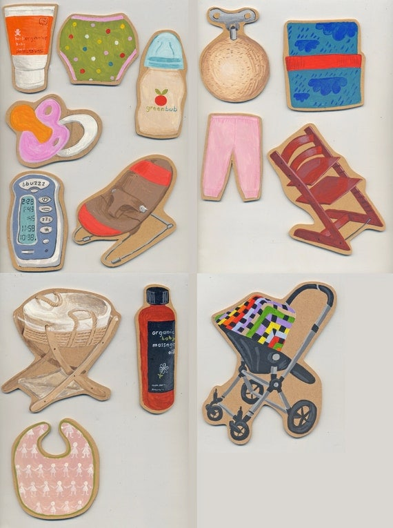 14 small original paintings: Baby Accoutrements