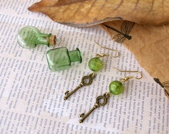 Green Key Dangle Earrings  Alice in Wonderland