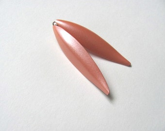 Peachy pink geometric post earrings, 1980s, vintage earrings, geometric jewelry