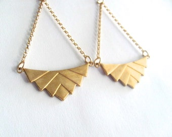 Art deco chevron dangle drop chandelier earrings 14k gold plate chain, vintage geometric pendant, upcycled jewelry, handmade, boho bohemian