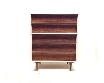 Vintage Mid Century Highboy In White and Wood