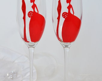 SALE  Toasting Flutes Set of 2 Personalized Champagne glasses Red Wedding with rhinestones
