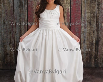 First communion dress, flower girl dress in contemporary style with rushing and pleaded bodice for wedding and church, catholic confirmation