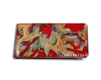 Money Clip Hand Painted Enamel Red and Gold Quartz Inspired Custom Colors and Personalized Options