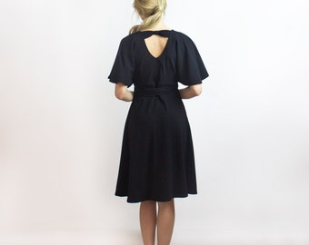 Joan Black wrap dress / Luxe crepe little black dress / Ethically made fashion - New collection