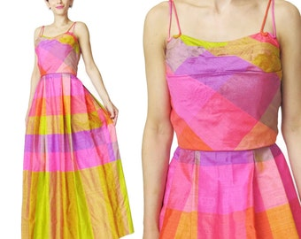 Vintage 1950s Party Dress Pink Plaid 1950s Evening Gown Dupioni Silk Dress Bright Colorful Double Straps Checkered Neon Maxi Dress (XS/S)