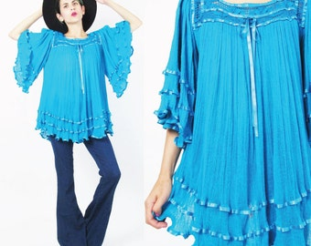 Vintage 70s Gauze Cotton Top Crochet Turquoise Blue Angel Sleeve Blouse Sheer Hippie Boho Ribbon Trim Blouse Floaty Tunic Top (M/L/Xl)