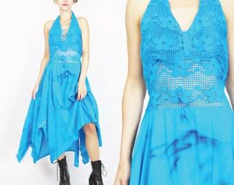 Vintage 1970s Dress Crochet Lace Sheer Waist Tie Dye Bright Blue Gauze Cotton Dress Hippie Boho Blue Halter Handkerchief Hem Dress (M) E414
