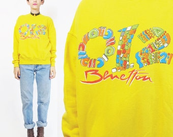 50% OFF SALE 90s Benetton Sweatshirt United Colors of Benetton Cotton Yellow Unisex Pullover Streetwear Screen Printed Jumper Gym (XS/S) E97