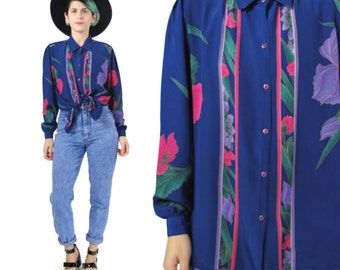 80s Floral Print Blouse Navy Blue Long Sleeve Blouse Womens Dress Shirt Button Up Shirt Collared Colorful Purple Pink Floral Shirt (M) E115