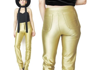 1970s DISCO Pants Gold Spandex Pants 70s High Waisted Pants Skinny Shiny Pants Slim Leg Studio 54 Gold Leggings Stretchy Pants (XS)