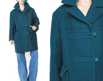 1970s Teal Green Wool Coat Vintage Duffle Toggle Coat Womens Wool Pea Coat Faux Fur Lined Coat Mens Wool Coat Unisex Zip Up Outerwear E205