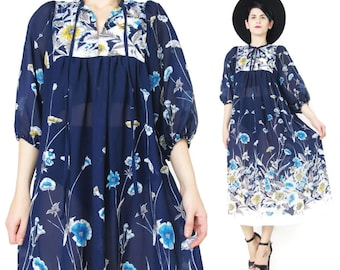 Vintage 1970s Floral Dress Navy Blue Floral Dress Tie Neck Sheer Bib Smock Dress Floral Print Chiffon Dress Midi Pullover Tunic Dress (S/M)