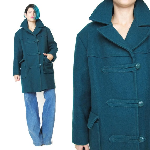 1970s Teal Green Wool Coat Vintage Duffle Toggle Coat Womens