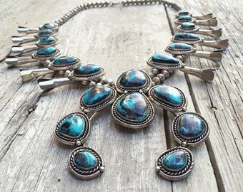 1970s 249g Blue Diamond Nevada turquoise squash blossom necklace Navajo silver turquoise jewelry