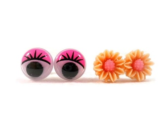 Tiny Flower Stud Earrings Googly Eye Earrings Set of 2 Orange and Pink Cute Earrings for Sensitive Ears Tween Jewelry Tween Gift Ideas