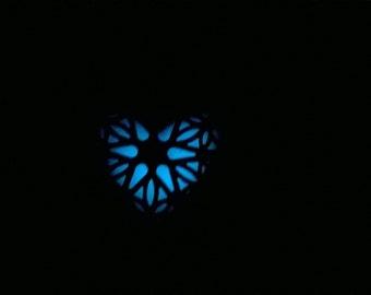 Glow in the Dark Heart Earrings,Lockett Earrings,Blue Glow