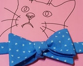 Cat Bow Tie - light blue with tiny white hearts