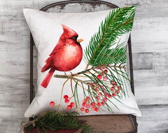 Christmas Holiday Pillow Red Cardinal with Holly Berries